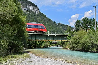 Mittenwald Railway - Mittenwald Railway crosses the Isar bridge in Scharnitz