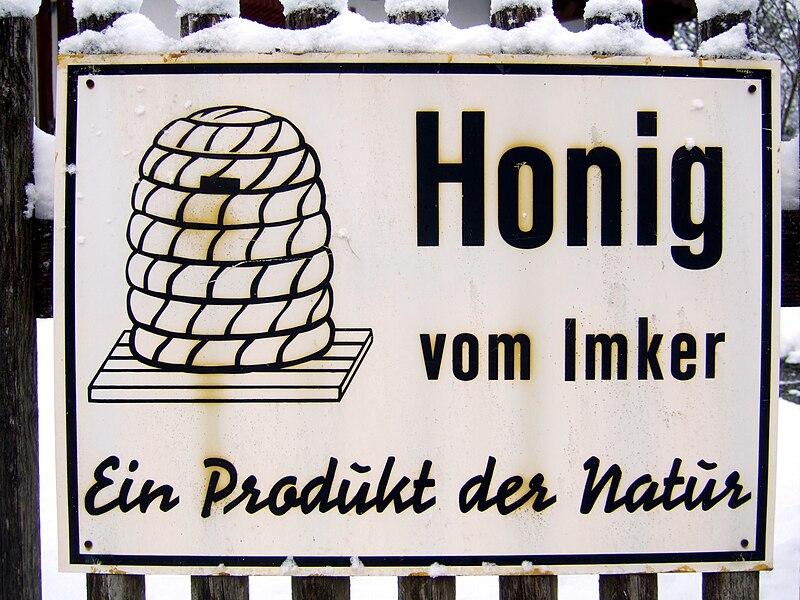 File:Schild Honig vom Imker.JPG