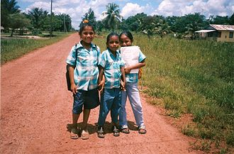 Kalina people - Kali'na girls in Suriname in the village of Bigi Poika.