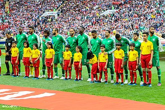 Saudi Arabia national football team - Saudi Arabia players before the 2018 FIFA World Cup opening fixture, against hosts Russia in Group A.