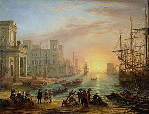 Village Fête - Image: Sea Port at Sunset 1639 xx Claude Lorrain