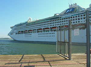 International Ship and Port Facility Security Code - The cruise ship Sea Princess leaving Southampton harbor; fences are visible on the right, which prevent access to the ship under the ISPS Code.