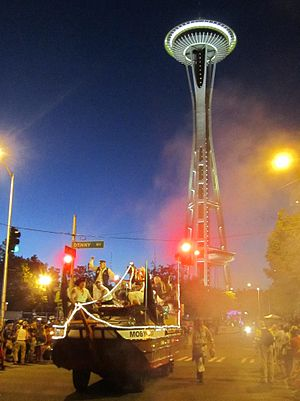 Seafair - Seafair Pirates Moby Duck at the Torchlight Parade with Seattle's landmark Space Needle in the background (2013)