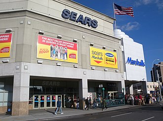 Big-box store - A Sears big box store with subway station in Rego Park, Queens, New York City, New York.
