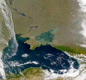 History of Crimea - Satellite image of the Black Sea, with the lighter-colored Sea of Azov and the Crimean peninsula in the center of the picture.