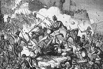 Siege of Ciudad Rodrigo (1812) - British infantry storm the fortress at Ciudad Rodrigo during Wellington's campaign in Spain.