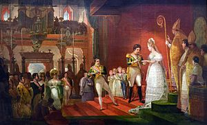 Under a red canopy in a baroque church, a man in uniform places a ring on the finger of a woman in an elaborate white dress, attended by 4 small children, bishops and other onlookers