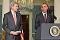 Secretary Kerry Looks on as President Obama Delivers a Statement on the Global Campaign to Degrade and Destroy ISIL (24633063474).jpg