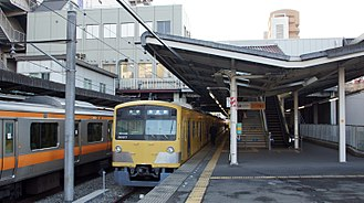 Kokubunji Station - Seibu Kokubunji Line train at platform 5, November 2013