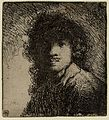 Self portrait etching by Rembrandt circa 1629.jpg