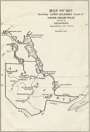 Red River Colony - Selkirk's land grant (which Selkirk called District of Assiniboia), within which the Red River Colony was established