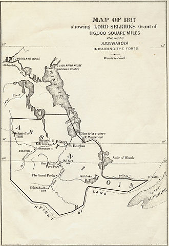 Red River Colony - Selkirk's land grant (which Selkirk called District of Assiniboia), within which the Red River Colony was established.