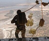 A military parachutist about to jump above Dakar, Senegal