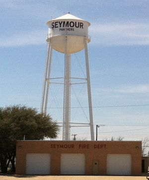 Seymour, Texas - Water tower with fire department