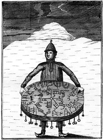 Knud Leem - Sami shaman with a drum used for runic divination (meavrresgárri). Illustrations printed from copperplates by O.H. von Lode in Florence, after drawings made by Knud Leem for Beskrivelse over Finnmarkens Lapper (1767)