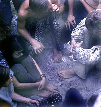 Tahquitz Canyon, Palm Springs, California, 1969, sharing a joint Sharing a joint.jpg