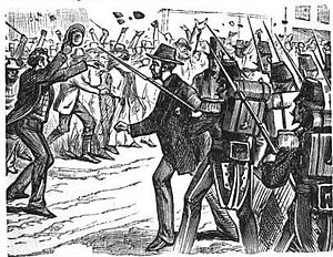 Pittsburgh railroad strike of 1877 - Sheriff Fife calling on the Pittsburgh rioters to disperse