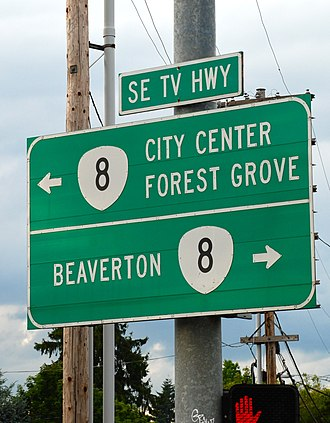 Oregon Route 8 - Highway 8 signs near downtown Hillsboro