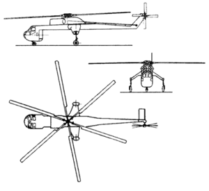 Orthographically projected diagram of the Sikorsky CH-54B Tarhe.
