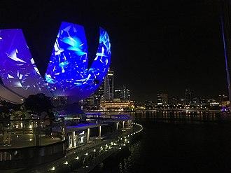 ArtScience Museum - Night view of Singapore Art Science Museum, February 2019