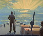 Sinking Sun. 1942 painting describing the death of Japanese flyers at the Battle of Midway.jpg