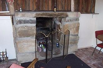 Slab hut - Stone fireplace in slab hut, Wollombi