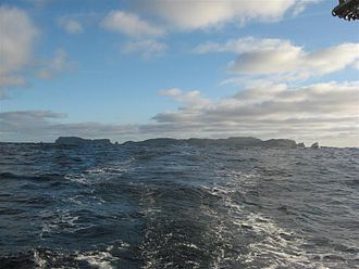 Snares Islands / Tini Heke - Snares Islands seen from the north-east, with Broughton Island on the left and Dapton Rocks on the right