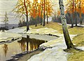 Snow by a Forest Stream by Mikhail Germashev (1900s).jpg