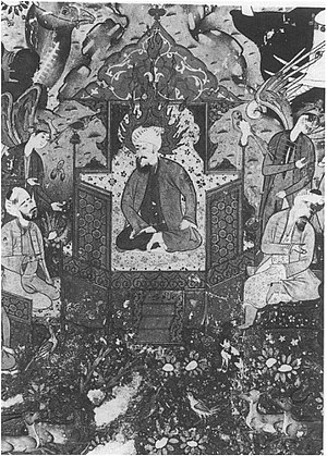 Asif ibn Barkhiya - King Solomon enthroned between grand vizier Asif (left) and king of jinns (right). A 16th-century (Safavid) miniature.