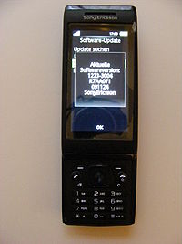 Sony Ericsson Aino (U10i), black, front, display with software version.JPG