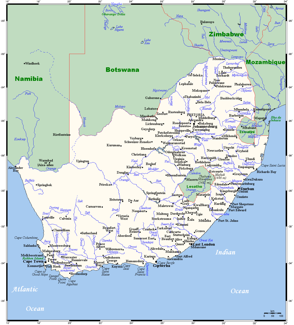 List Of Rivers Of South Africa Wikipedia - African rivers by length