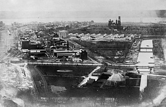 Armory Square Hospital - View of the Mall in 1863 with the Armory and the Wards along with the Smithsonian Castle and the Canal.