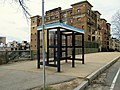 Southbound bus shelter at Fenway station, April 2016.JPG