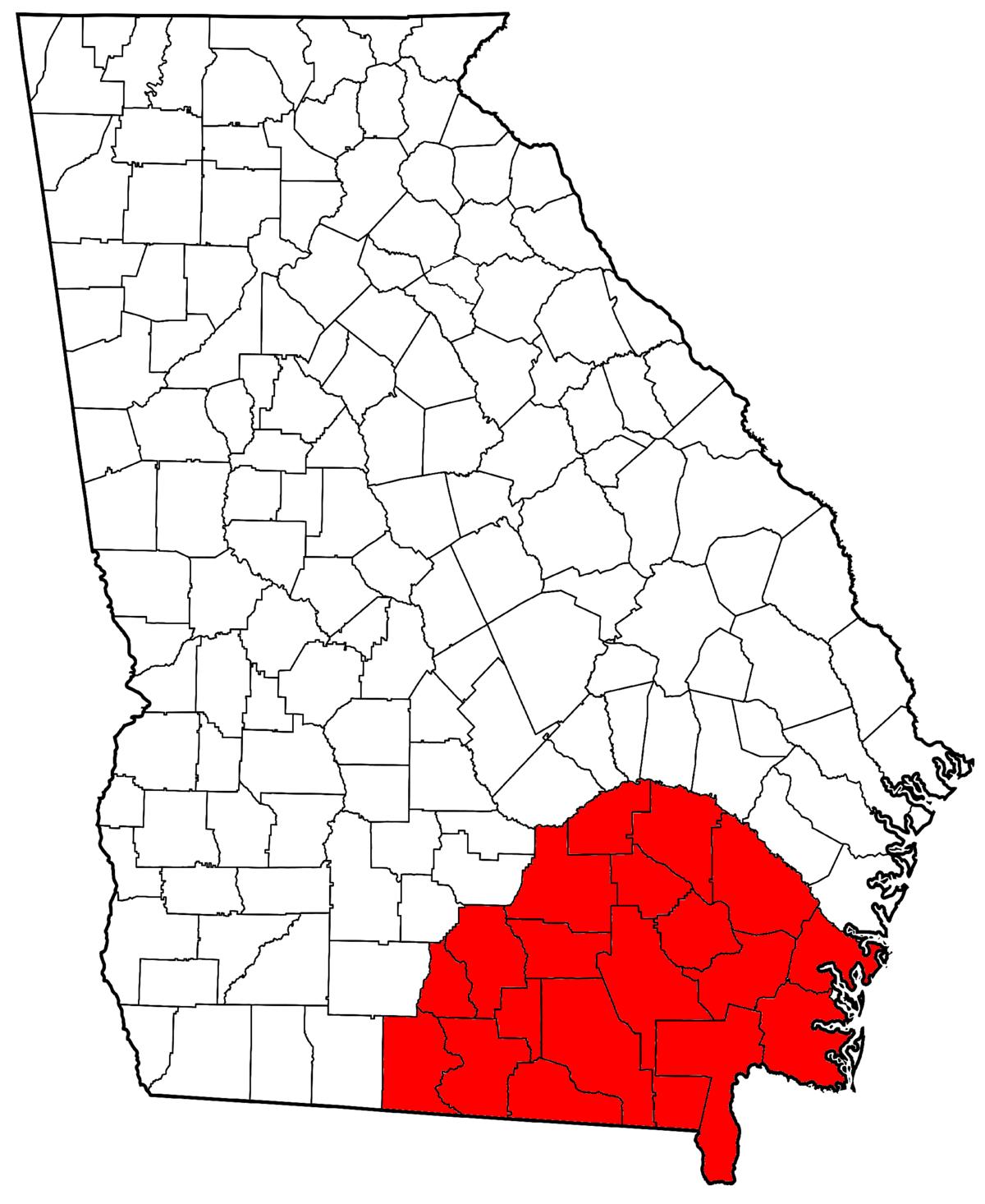 Southeast Georgia Wikipedia - Georgia map drawing