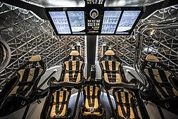 SpaceX Dragon interior seating layout for commercial astronauts.
