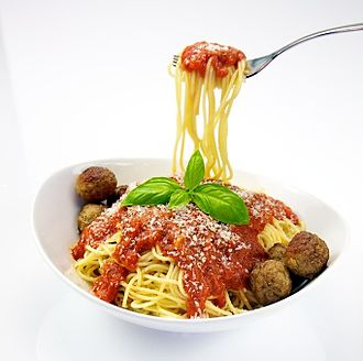 Spaghetti with meatballs - Image: Spaghetti with Meatballs (cropped)