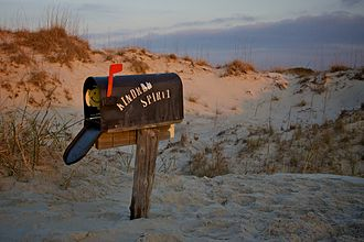 """Bird Island, North Carolina - The """"Kindred Spirit"""" mailbox on Bird Island, NC. Hikers can leave their thoughts on notepads inside the mailbox after their trek."""
