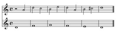 Un esempio di contrappunto di seconda specie (play MIDI[?·info])