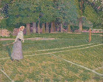 Hertingfordbury - Tennis at Hertingfordbury, by Spencer Gore