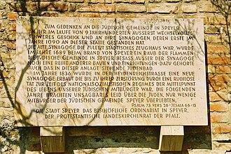 History of the Jews in Speyer - Memorial plaque in the Speyer Judenhof