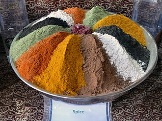 Iranian cuisine - A spice bowl in a shop at the Vakil Bazaar of Shiraz.