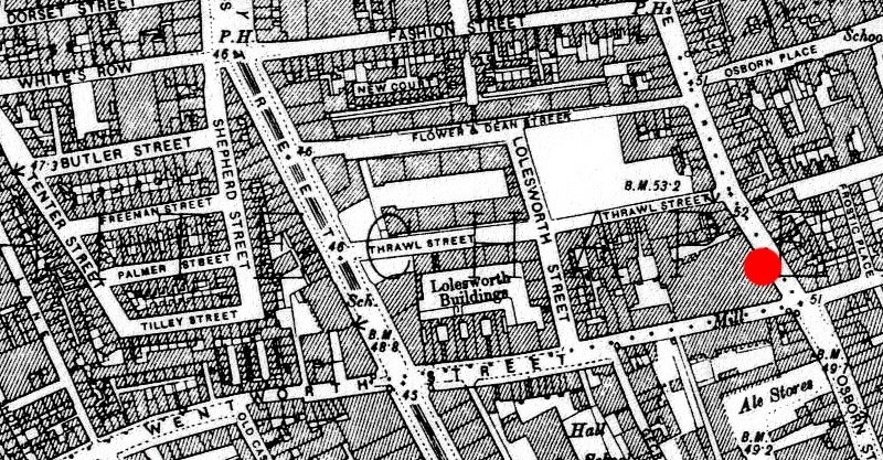 Map of about a dozen interconnecting London streets