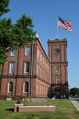 Springfield Armory - The clocktower of the Main Arsenal building, built in 1847