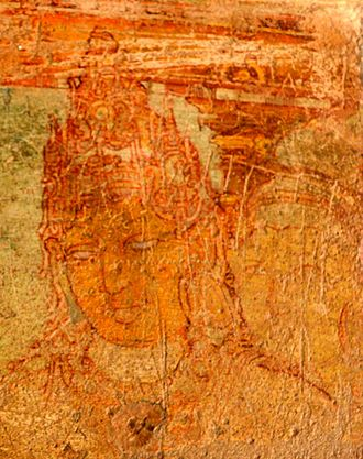 Srimara Srivallabha - Painting from sittanavasal, believed to be that of the King Srimara Srivallabha and the Queen