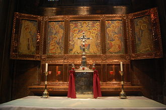 St Alban the Martyr, Birmingham - The reredos, and 1938 silver tabernacle
