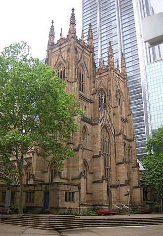 St Andrew's Cathedral, Sydney - The west front demonstrates Blacket's mastery of Gothic design.