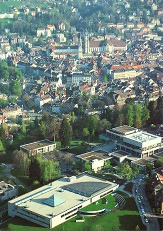 University of St. Gallen - The University of St. Gallen with the Altstadt of St. Gallen and its Abbey of Saint Gall in the background