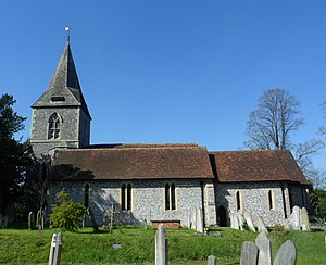 Merrow, Surrey - St John's Church, viewed from the south (non-road) side.