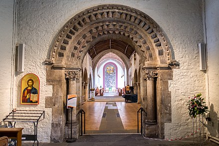 The Norman archway St Woolos Cathedral, Newport.jpg