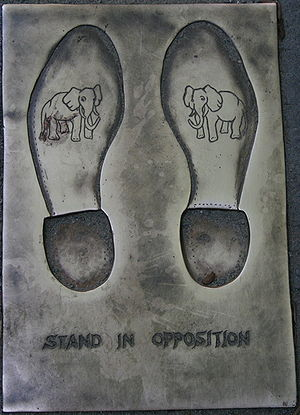 Opposition (politics) - Stand in Opposition (imprints in front of Old City Hall, Boston)